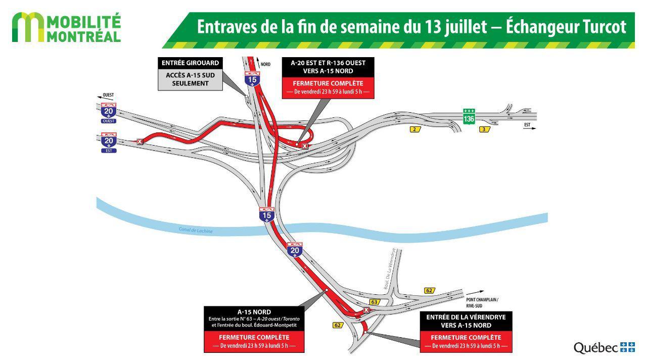 در آخر هفته منتهی به یکشنبه، ۱۵ ژوئیه، محور شمالی اتوبان ۱۵ در محدوده مرکز شهر بسته است