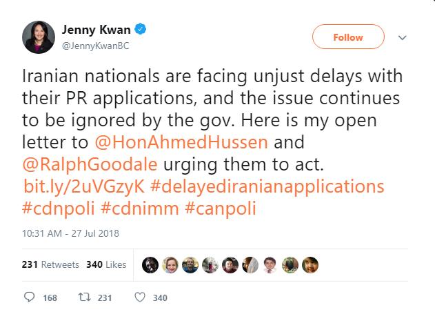 جنی کوآن: پرونده درخواست اقامت ایرانیان به شکل غیر عادلانهای با تاخیر روبرو شده و دولت هم این موضوع را نادیده میگیرد