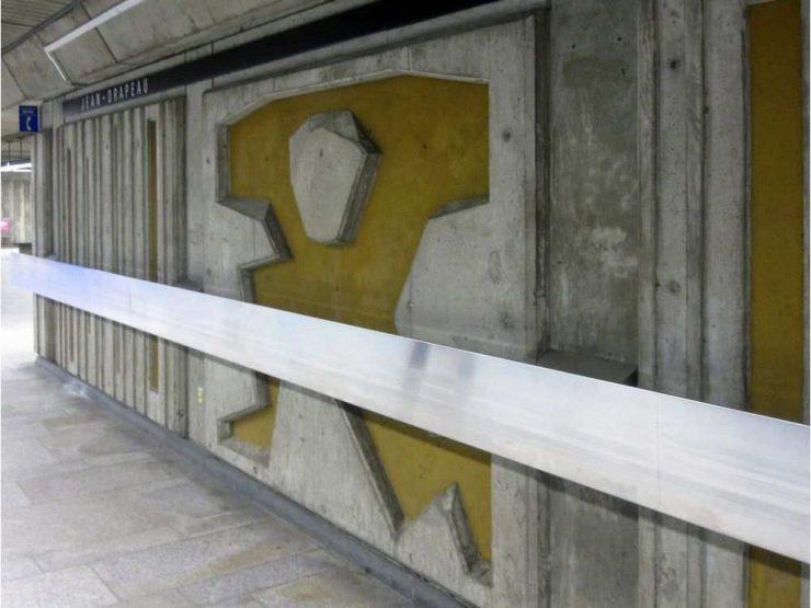 طراحی با سیمان، اثر ژان دومونتیر در ایستگاه ژان دراپو، خط زرد متروی مونترال / Photo: STM
