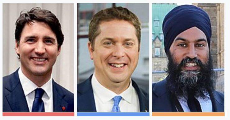 به ترتیب از چپ به راست: جاستین ترودو، رهبر حزب لیبرال. اندرو شییر، رهبر حزب محافظهکار و جاگمیت سینگ رهبر حزب NDP (نئودموکرات)