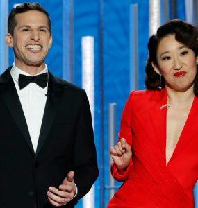 از نکتههای جذاب گلدن گلوب امسال میتوان به حضور «ساندرا اوه» هنرپیشه کانادایی به عنوان یکی از مجریان اشاره کرد (Photo by Paul Drinkwater/NBCUniversal via Getty Images)