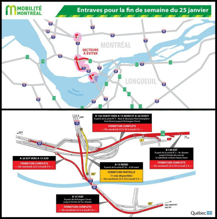 محدودیتهای ترافیکی مونترال در آخرهفته منتهی به ۲۵ تا ۲۷ ژانویه / Photo: Quebec511