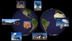 نقشه زیر موقعیت رصدخانههایی که در این تصویر برداری استفاده شده است را نشان می دهد