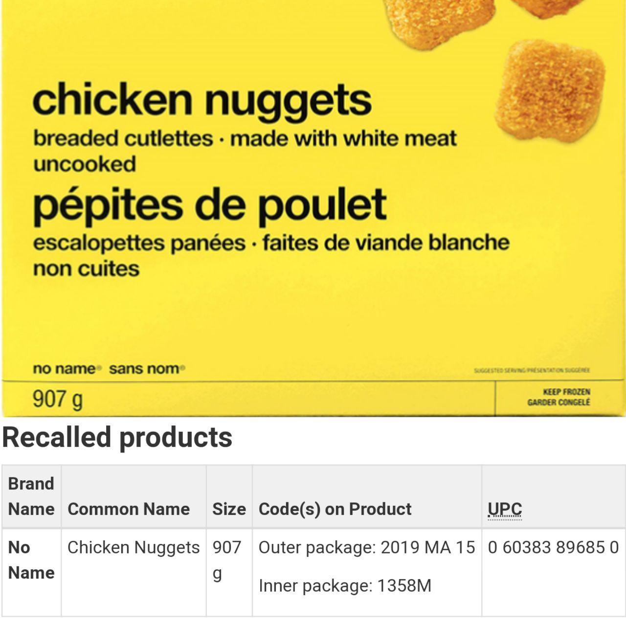 این ناگت مرغ به سالمونلا آلوده است
