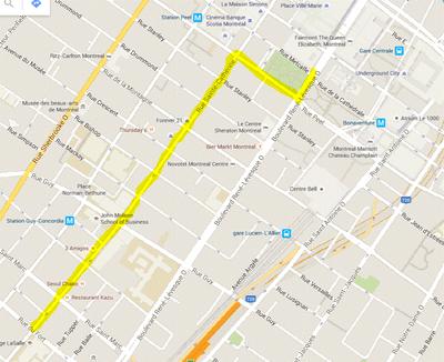 نقشه مسیر رژه روز کانادا / montrealcanadadayparade