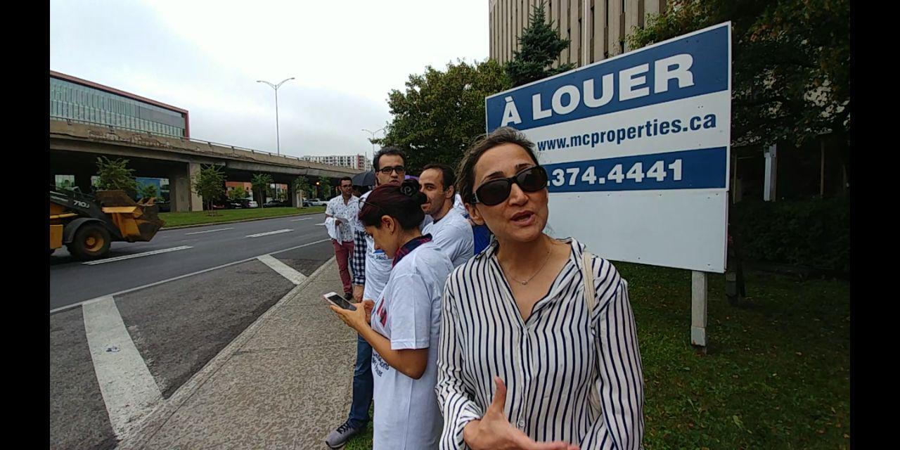 آرزو خدیر، پزشک مونترالی و خواهر امیر خدیر، نماینده مجلس کبک نیز در جمع معترضان بود