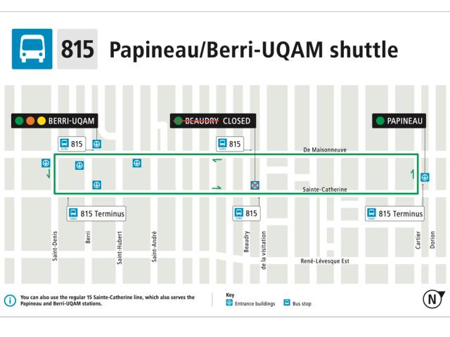 در دوران هشت ماهه تعمیرات ایستگاه «بودری»، خط اتوبوس ۸۱۵ به عنوان جایگزین راهاندازی شده است. Photo: STM info